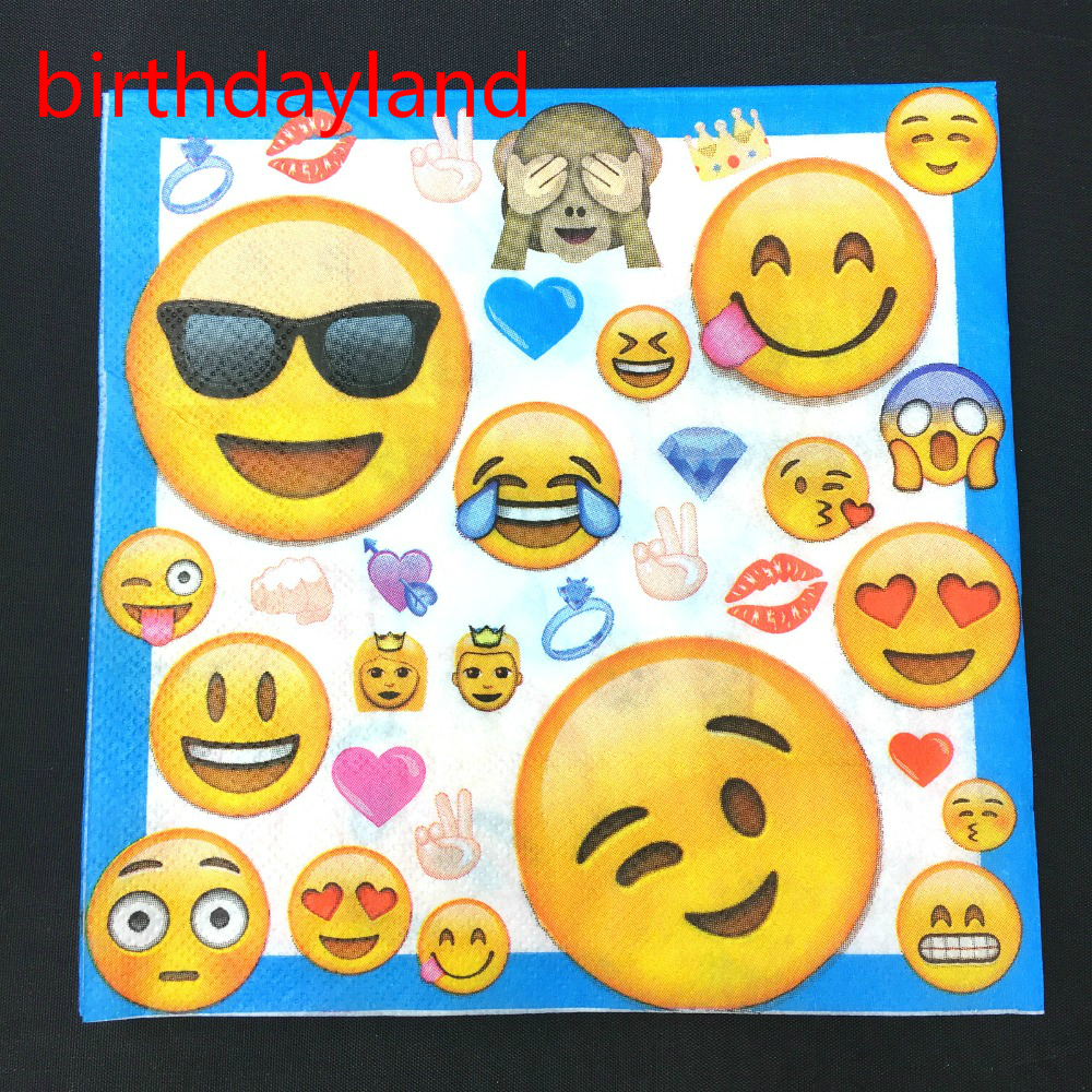 10pcs 33*33cm emoji Expression paper napkins serviettes decoupage tissues for kids Birthday party Decoration