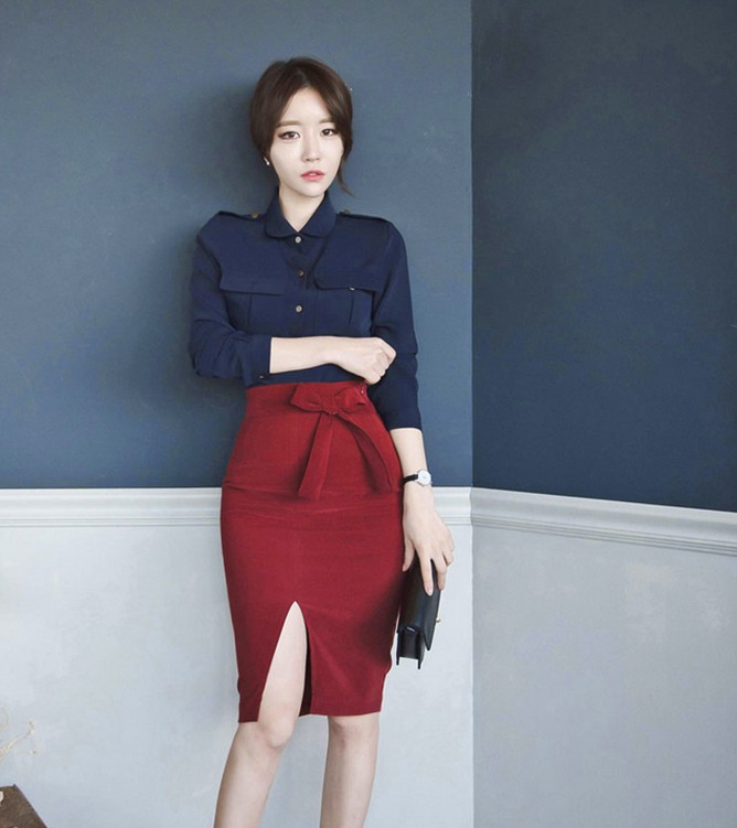 21e48462d4b4 2 Piece Set 2017 Women Suit Autumn OL Navy blue Long sleeves Blouse Shirt  Tops and Red Bow Pencil Skirts Crop Top and Skirt-in Women's Sets from  Women's ...