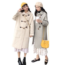Winter Womens Long Section Hepburn Horn Buckle Quilted Thick Woolen Coat Loose Student Wool