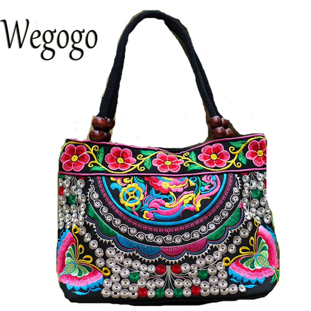 Wegogo Vintage National Ethnic Embroidery Bags Indian Boho Shoulder Bags Double Zipper Travel Handbags Woman Sac a Dos Femme free shipping vintage hmong tribal ethnic thai indian boho shoulder bag message bag pu leather handmade embroidery tapestry 1018