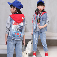 Children Sets For Boy 2019 New Casual Denim Clothing Suits Vest+T shirt+Pants Big Girls Autumn Hooded Suit For 3 to 12 Years Old