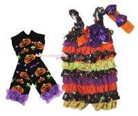 Halloween Purple Rose Orange Lace One Piece Romper Pumpkin Leg Warmer Set NB 3Y MARH142