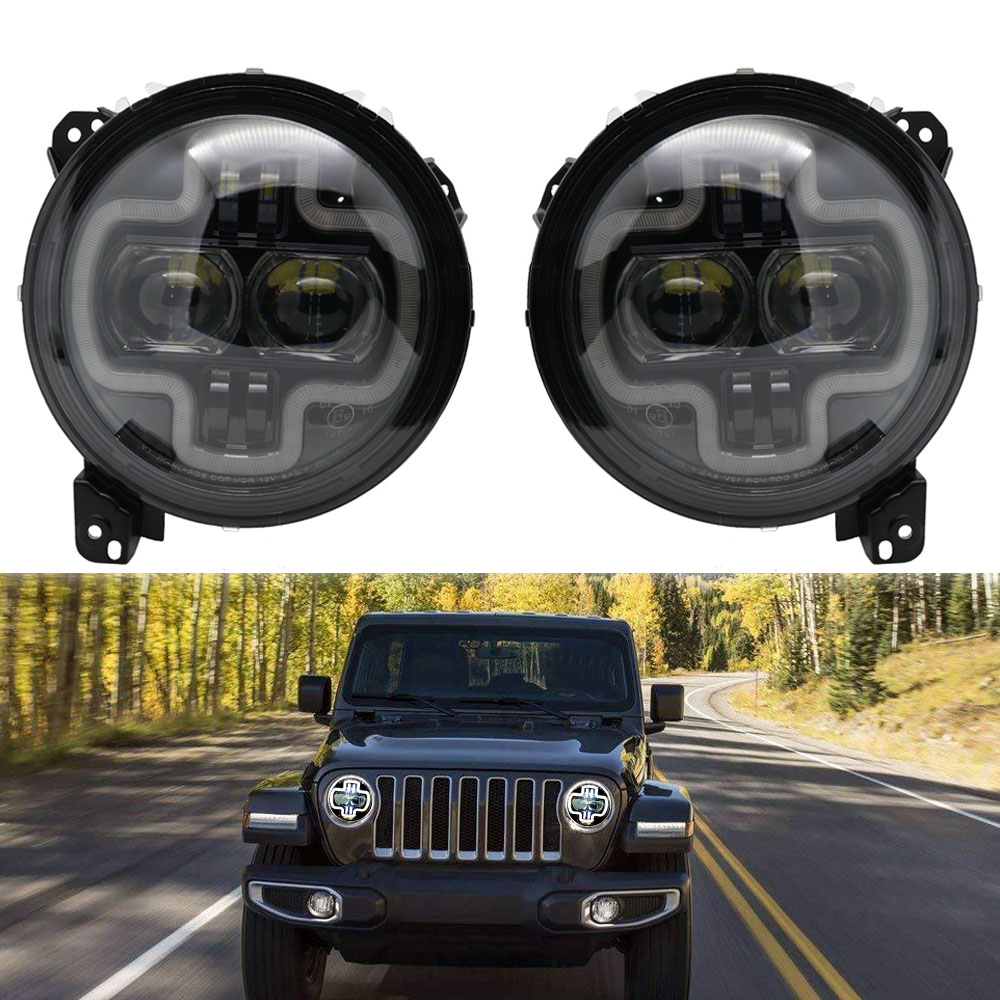 Car Lights 9inch Round LED Headlight White DRL Halo Ring Plug in Play for 2018 2019 Jeep Wrangler JL Car Headlight Assembly (6)