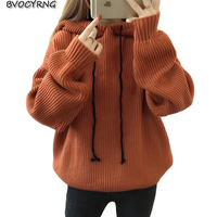 2019 New Hooded knitting Sweater Long Loose Women Sweater Female Autumn and Winter Coat Warm Knitted pullover tops Girls A0066