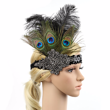 1920s Flapper Headband The Great Gatsby Peacock Feather Beaded Sequins Roaring 20s Gatsby Headpiece Vintage Hair Accessories(China)