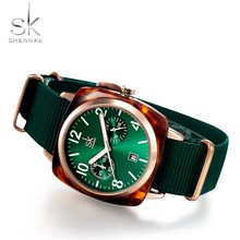 Womens Nylon Green Watch SK Luxury Brand Quartz Square For Women Female Red Clock Waterproof Ladies Wrist Sport