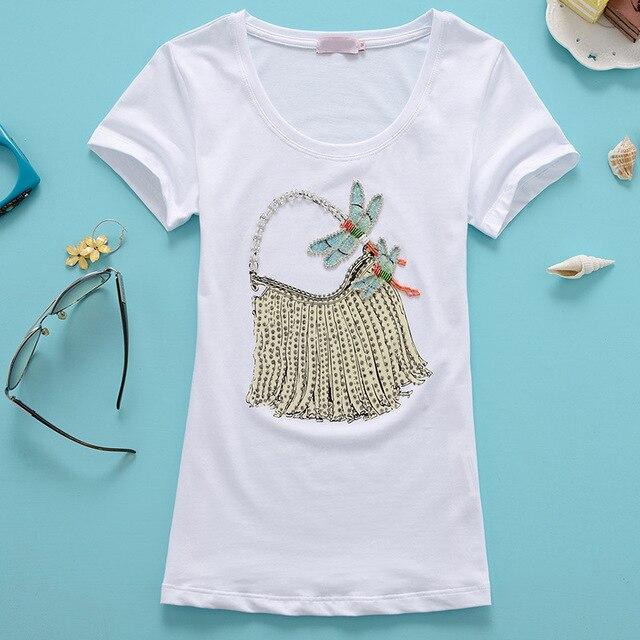 2016 Nueva Llegada Del Verano T Shirt O Cuello Manga Corta Hecha A Mano Del Grano Bolsos de Las Señoras Diamantes Moda Delgado Camiseta de Las Mujeres