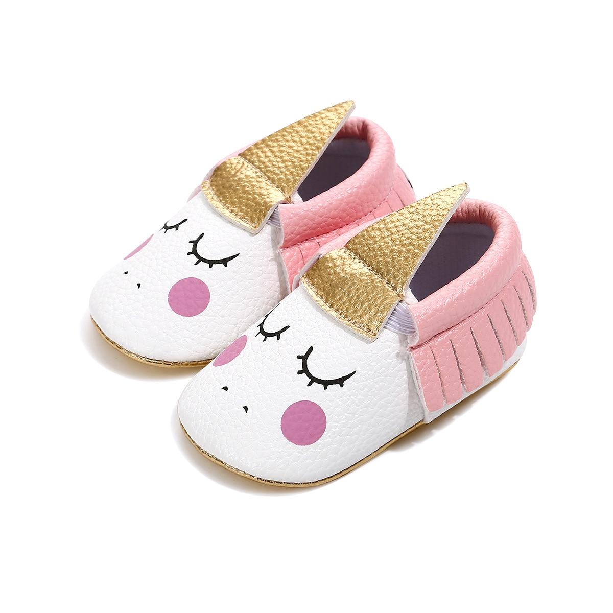 Unicorn Baby Girl Leather Crib Shoes Newborn Non-slip Soft Sole Tassel Prewalker