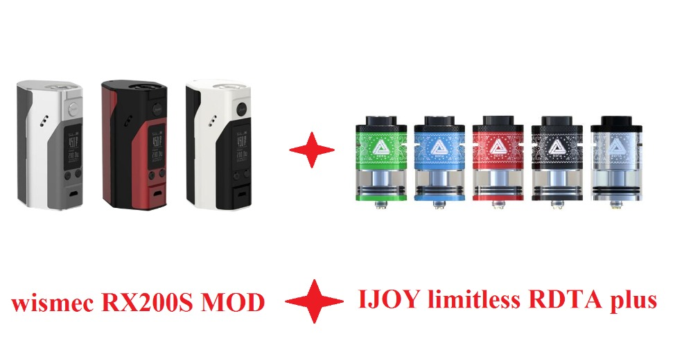 ФОТО 100% original Wismec Reuleaux RX200S and ijoy limitless RDTA plus electronic cigaratte full kit no cells high power vaporizer