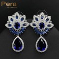 New Simulated Sapphire European Style Cluster Flower Blue And White Stone Pave Women Big Water Drop Cubic Zirconia Earrings E264