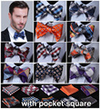 Check 100%Silk Jacquard Woven Men Butterfly Self Bow Tie BowTie Pocket Square Handkerchief Hanky Suit Set #B1
