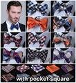 Confira 100% de Seda Tecido Jacquard Men Borboleta Auto Arco Bolso Gravata borboleta gravata Quadrado Lenço Lenço Conjunto Terno # B1