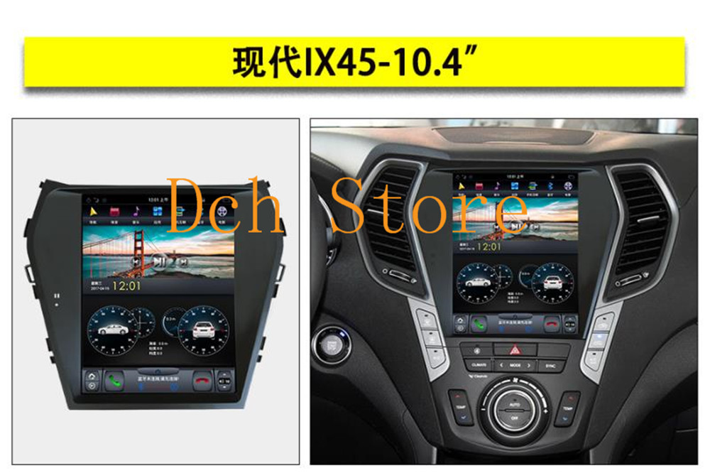 10 4 Vertical Big Screen Tesla Style Android Auto Car Dvd Gps Player For Hyundai Santa Fe Ix45 2013 2014 2015 2016 2017 2018