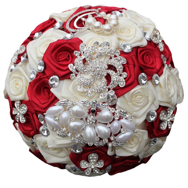 New Stunning Pearl Diamond Brooch Wedding Bridal Bouquet Crystal Burgundy Bouquet Silk Rose Artificial FlowerS Color