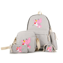 Cute Pink Panther Cartoon Women Backpack Canvas School