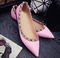 High Quality Genuine Leather Pointed Toe Rivets Women Low Heels  Shoes Candy Color Patent Leather Shoes For Woman