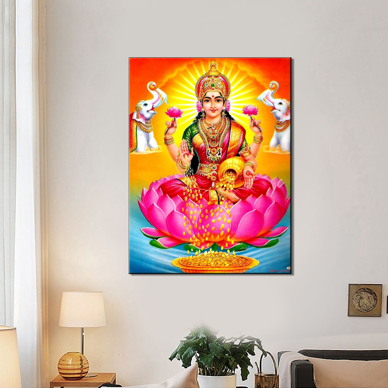 Indian buddha poster wall art canvas painting wall - Wall pictures for living room india ...