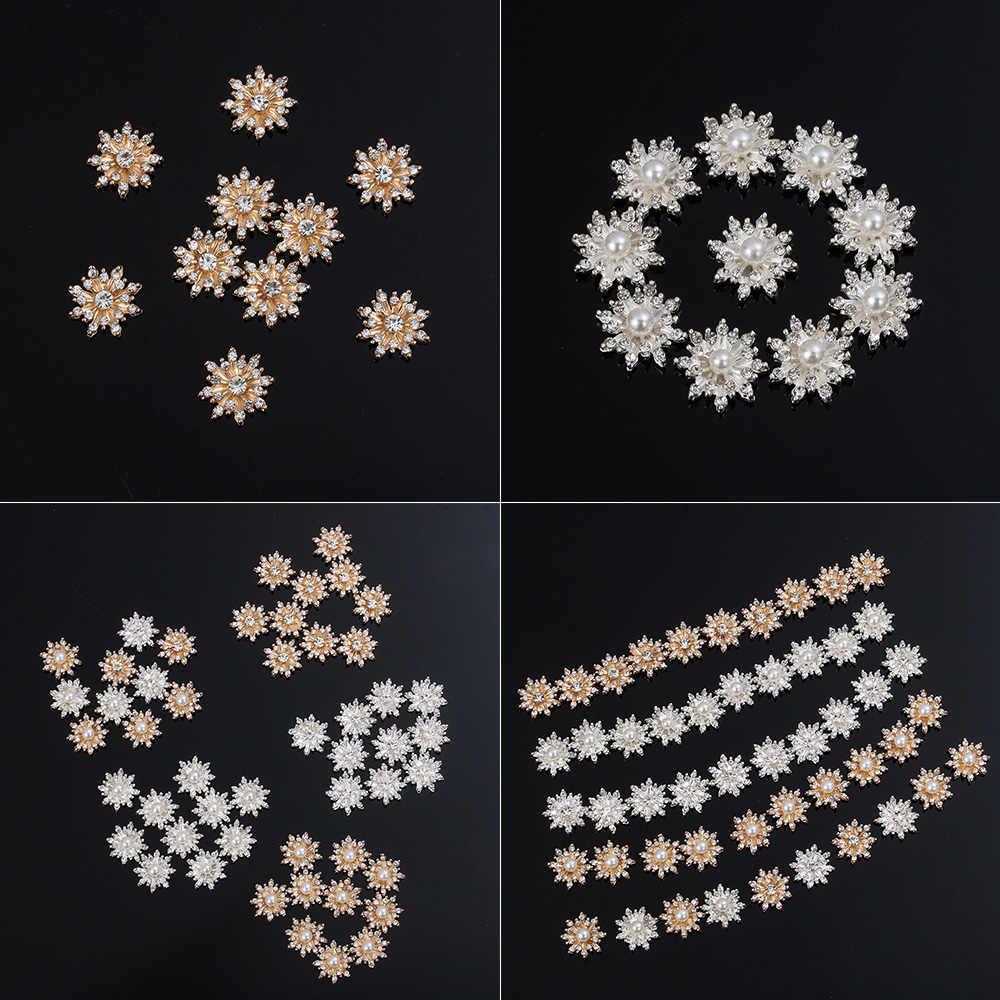 10 Buah 16Mm Rhinestone Kepingan Salju Cabochon Logam Vintage Tombol untuk Pakaian Pipih Plating Pearl DIY Kerajinan Jahit Pakaian