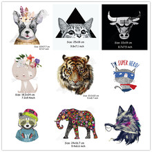 Animal Patches Cute Cartoon Animal Stickers for Tops T-shirt Household Iron-on Transfer DIY Decoration Appliqued for Bags C