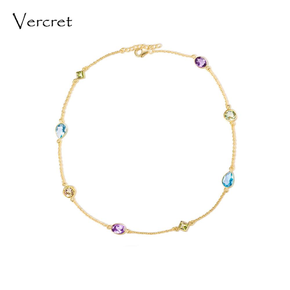 Vercret колье ожерелье аметист ожерелье 925 серебро Сияющий топаз драгоценный камень ожерелье ручной работы женские украшения подарок