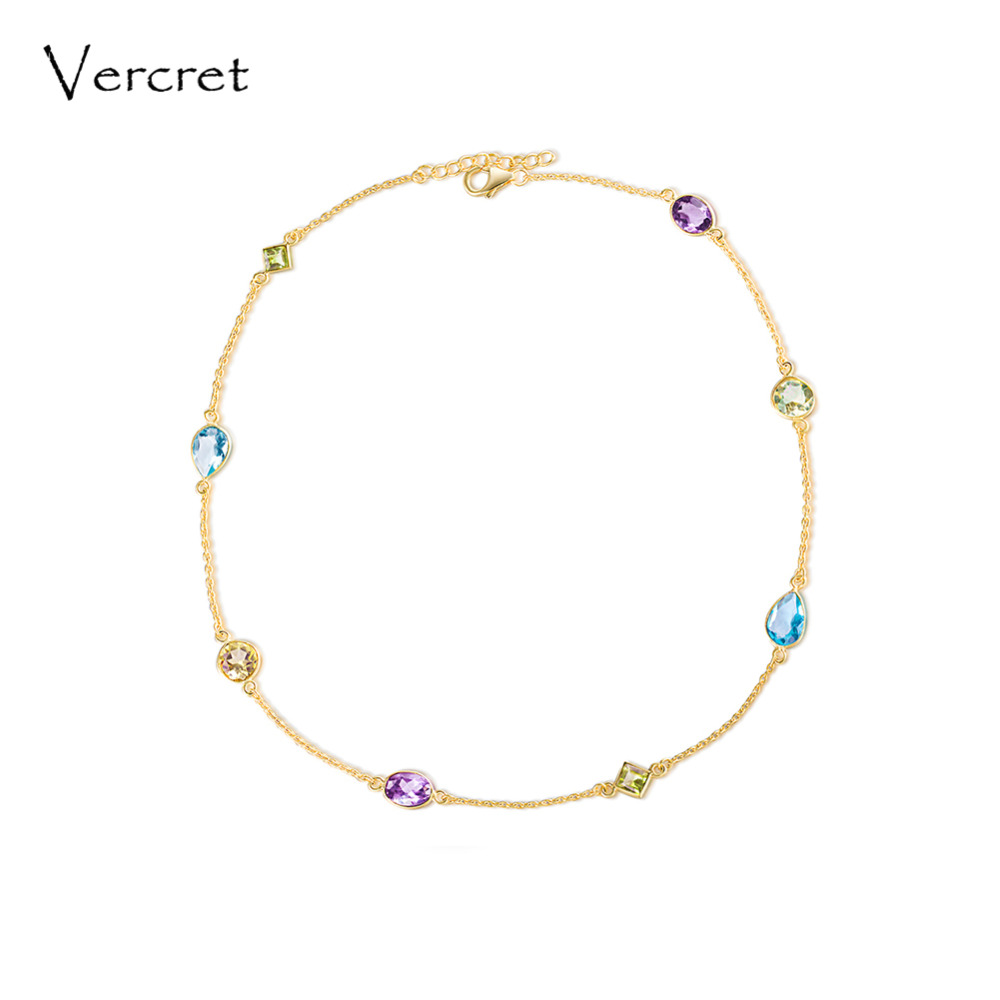 Vercret choker necklace amethyst necklace 925 sterling silver shining topaz gemstone necklace handmade women's jewelry gift