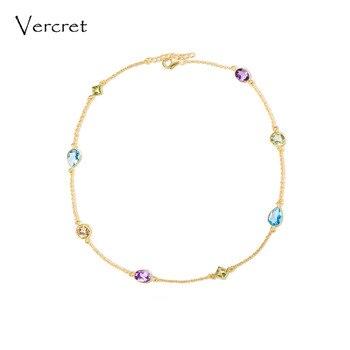 Ожерелье Vercret, ожерелье из серебра 925 пробы с аметистом, блестящий топаз, драгоценный камень, золотое ожерелье ручной работы, женские Украшен...