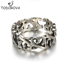 Todorova Vintage 925 Sterling-silver-jewelry Twisted All-match Thick Opening Black Thai Silver Old Silver Men Women Rings