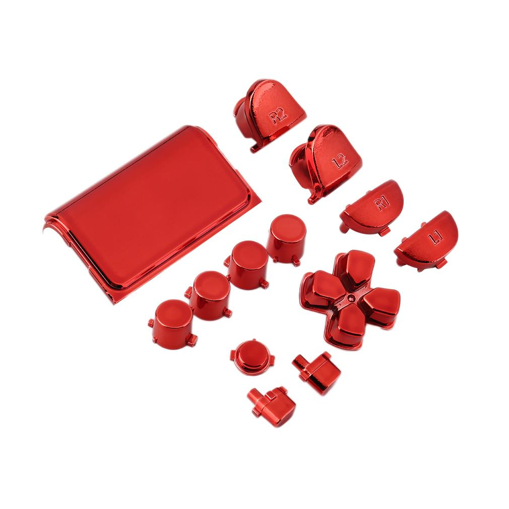 New Full Chrome Button Replacement Mod Game Kit for Playstation 4 PS4 Controller Joystick Video Game Playstation Red Color