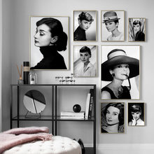Audrey Hepburn Movie Star Figure Vintage Nordic Posters And Prints Wall Art Canvas Painting Wall Pictures For Living Room Decor(China)