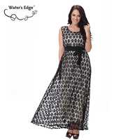 Water S Edge Sleeveless Large Size Women Dress Vintage Long Summer Beach Party Female Vestido Plus