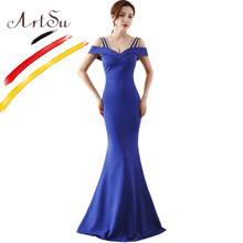 ArtSu Women Floor-Length Off Shoulder Maxi Party Dress Elegant 3D Diamond  Beading Mermaid Robe De Soiree Burgundy Sexy Prom Gown 3aa942f9486a