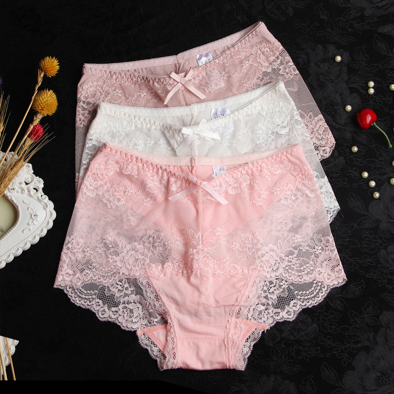 Women Modal Transparent Sexy Lace Underwear Plump Lady 3XL Large Size Hollow Seamless   Panties   High-Rise Soft Big Size Briefs