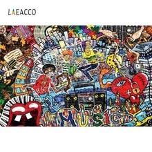 Laeacco Graffiti Retro Brick Wall Painting Scene Portrait Nature Photography Background Photographic Backdrops For Photo Studio