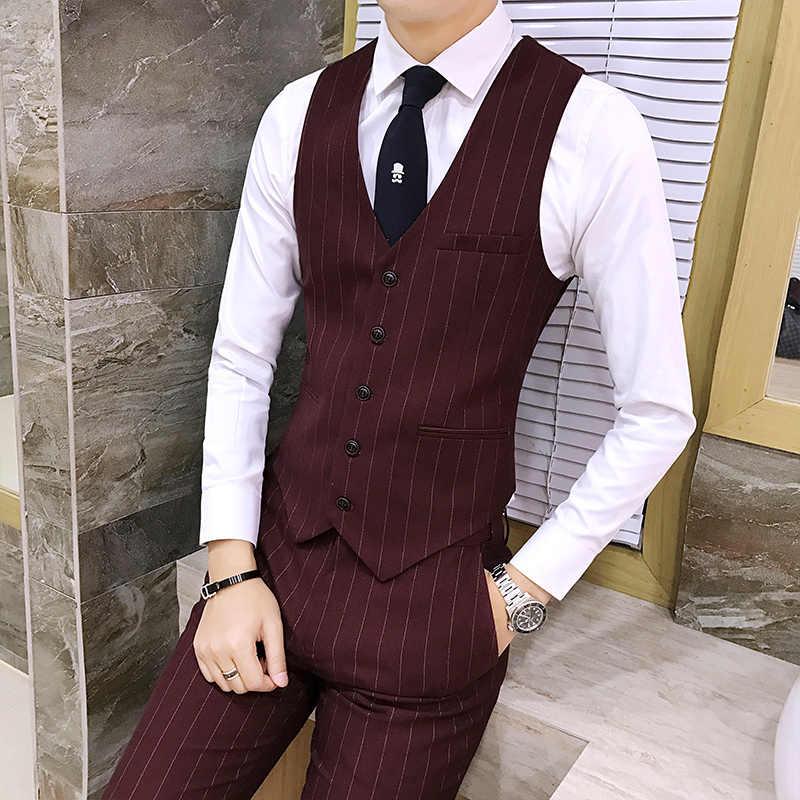 2018新しいメンズスーツベストビジネス結婚式宴会男性ストライプベストスリムエレガントな男性のチョッキサイズs-3xl