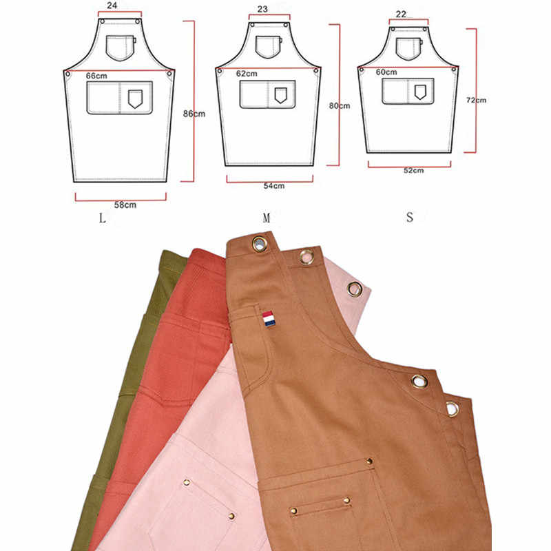 Barista Florist Apron For Women With Back Cross Leather Strap And Pockets