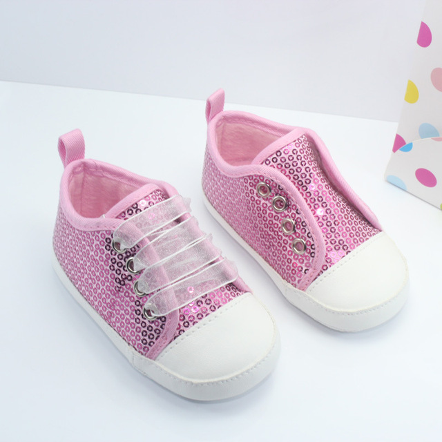 High Quality Beautiful Handmade Baby Shoes Sequined Organza Ribbon Lace-up Infants  First Walkers Cute f44e5eed1bca