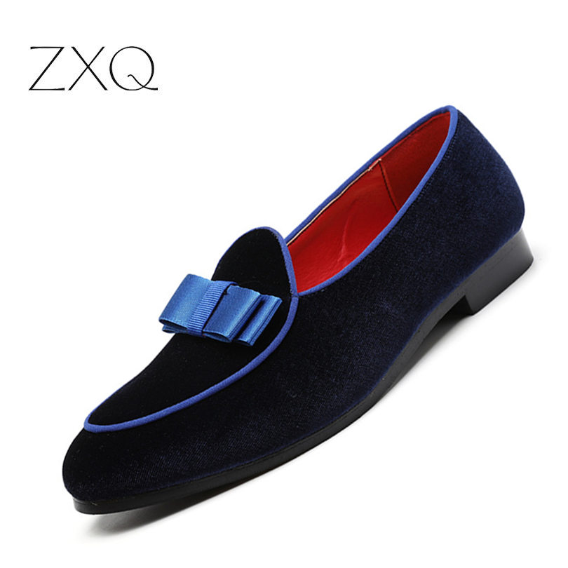 Big Size Men Formal Shoes Bowknot Wedding Dress Male Flats Fashion Gentlemen Casual Slip On Shoes Red Suede Loafers
