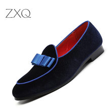 Big Size Men Formal Shoes Bowknot Wedding Dress Male Flats Fashion Gentlemen Casual Slip on Red Suede Loafers