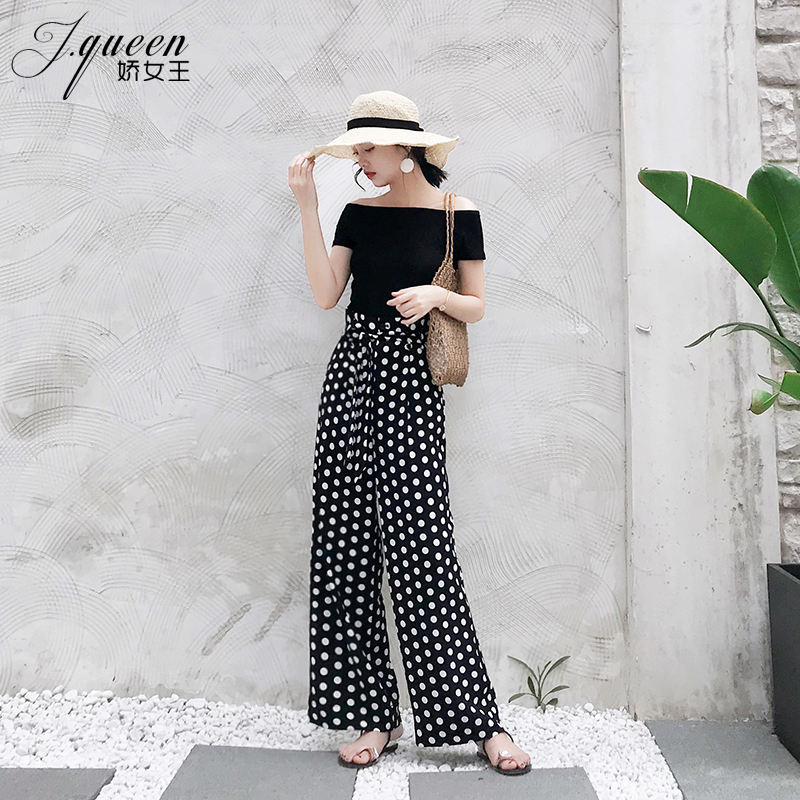 Women 39 s Pants Wave point wide leg pants female summer high waist loose casual trousers 2018 Elegant Classical Straight Black in Pants amp Capris from Women 39 s Clothing