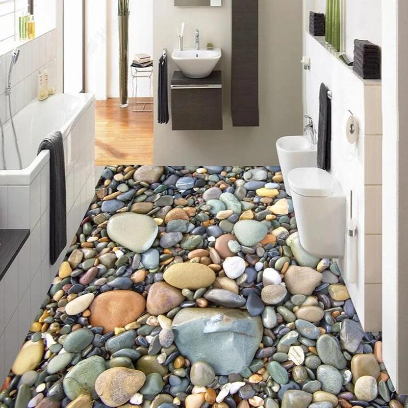papier peint de sol en galets de pierre stereo 3d autocollant de sol auto adhesif impermeable en pvc pour salle de bains et salon carreaux 3d
