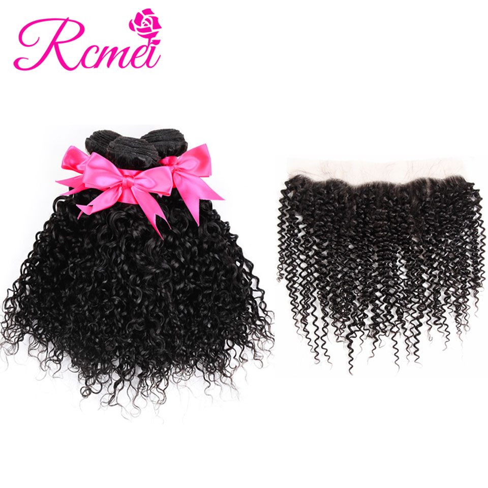 Rcmei Peruvian Kinky Curly Hair Extension Frontal With Bundles Kinky Curly Ear to Ear Lace Frontal With Hair Weave Bundles 4 PCS