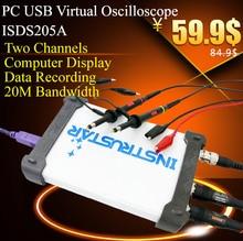 ISDS205A Virtual PC USB oscilloscope 2CH 20 MHz 48MSa s FFT analyzer Data Logger