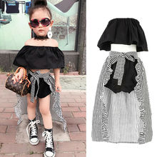 3pcs Set Toddler Baby Girl Clothes Off-Shoulder Ruffle T-shirt Tops+Shorts Long Striped Skirt Outfit Set Baby Girls Sunsuit