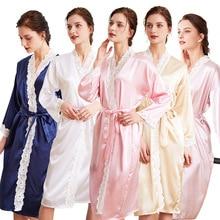 Plus Size Nightwear Sexy Silk Robe Kimono  Slik M-2xl 991