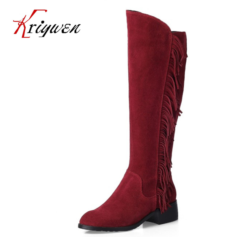 Big size 33-46 women love winter warm knight Boots cow suede tassel Knee high Boots woman Shoes Zapatos Mujer femmes botas wisted x boots cowboy boots only size 11 left eur size 42 knight boots tassel short boots