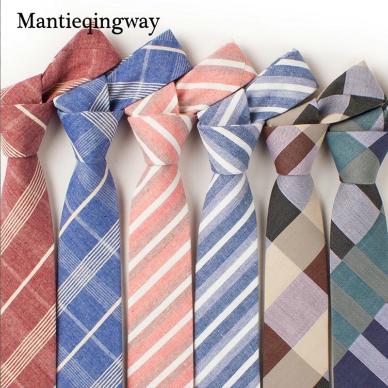 Mantieqingway 6cm kokvilnas vīriešu kaklasaites Jauna dizaina kakla kaklasaites 6cm pledi un svītrains kaklasaites vīriešiem oficiālas biznesa kāzu ballītes Gravatas
