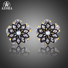 f2bd0ac2f AZORA Cute Lotus Round Cut Clear Cubic Zirconia Stone Stud Earring for Women  Black Flower Earrings Jewelry Accessories TE0310