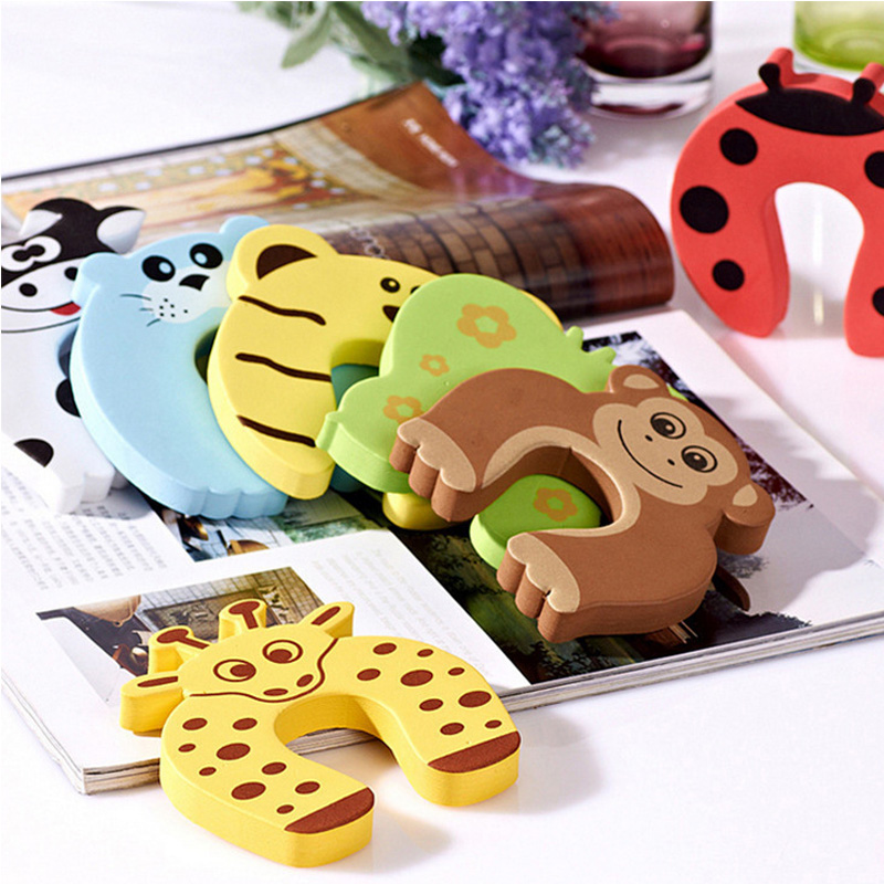 Child Safety Protection Baby Safety Animal Security Card Door Stopper Baby Care Newborn Protect Lock Finger Protector 5pcs/lot