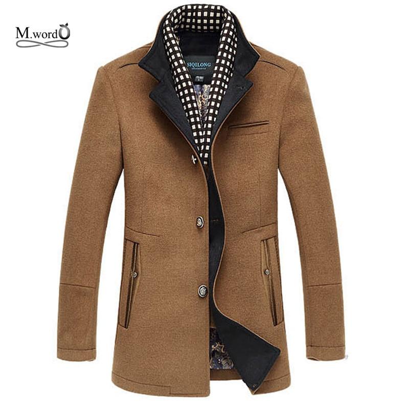 2018 New Winter Men Splice Chaqueta de lana más prendas de vestir gruesas para hombre Medio chaqueta larga Abrigo abrigo de invierno cálido