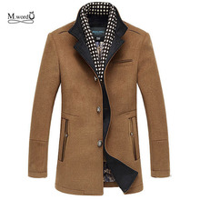 2018 New Winter Men Splice Woolen Jacket plus thick outerwear Mens Middle long jacket Coat Winter warm Overcoat